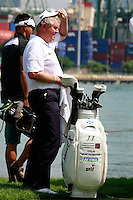 Colin Montgomerie (SCO) tries to keep cool as he waits to tee off on the 7th tee during Sunday's Final Round of the rain shortened 2011 Barclays Singapore Open, Singapore, 13th November 2011 (Photo Eoin Clarke/www.golffile.ie)