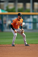 Norfolk Tides shortstop Jack Reinheimer (3) during an International League game against the Buffalo Bisons on June 21, 2019 at Sahlen Field in Buffalo, New York.  Buffalo defeated Norfolk 2-1, the first game of a doubleheader.  (Mike Janes/Four Seam Images)