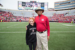 Wisconsin Badgers Honorary Captain Sidney Williams with junior captain prior to an NCAA College Big Ten Conference football game against the Purdue Boilermakers Saturday, October 14, 2017, in Madison, Wis. The Badgers won 17-9. (Photo by David Stluka)