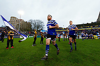 Henry Thomas and the rest of the Bath Rugby team run onto the field. Gallagher Premiership match, between Bath Rugby and Sale Sharks on December 2, 2018 at the Recreation Ground in Bath, England. Photo by: Patrick Khachfe / Onside Images