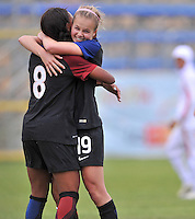 Monfalcone, Italy, April 26, 2016.<br /> USA's #8 Jarret celebrates with teammates #19 Dyke after scoring the  goal of 6-0 during USA v Iran football match at Gradisca Tournament of Nations (women's tournament). Monfalcone's stadium.<br /> &copy; ph Simone Ferraro / Isiphotos