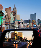 USA, Nevada, Las Vegas, a view of The Strip heading North at Dawn, Sin City