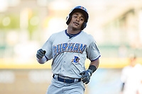 Mallex Smith (6) of the Durham Bulls rounds the bases after leading off the game with a home run against the Charlotte Knights at BB&T BallPark on May 15, 2017 in Charlotte, North Carolina. The Knights defeated the Bulls 6-4.  (Brian Westerholt/Four Seam Images)