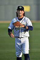 Third baseman Jay Jabs (7) of the Columbia Fireflies warms up before a game against the Lexington Legends on Saturday, April 22, 2017, at Spirit Communications Park in Columbia, South Carolina. Lexington won, 4-0. (Tom Priddy/Four Seam Images)