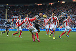 Ayoze Perez of Newcastle United struggles amongst the Stoke defence - Newcastle United vs. Stoke City - Barclay's Premier League - St James' Park - Newcastle - 08/02/2015 Pic Philip Oldham/Sportimage