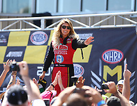 Jul 23, 2017; Morrison, CO, USA; NHRA top fuel driver Leah Pritchett during the Mile High Nationals at Bandimere Speedway. Mandatory Credit: Mark J. Rebilas-USA TODAY Sports