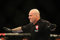 Oct. 29, 2011; Las Vegas, NV, USA; UFC referee Josh Rosenthal during a lightweight bout in UFC 137 at the Mandalay Bay event center. Mandatory Credit: Mark J. Rebilas-