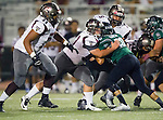 Torrance, CA 10/09/15 - Juan Mosquera (Torrance #71), Thomas Craig (Torrance #60) and Jeffrey Saks (Torrance #75) in action during the Torrance vs South High varsity football game.  South defeated Torrance 24-21.