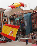 Parachutist of the Spanish Air Force carrying the national flag of Spain during a military parade marking the Armed Forces Day on June 2, 2012 in Valladolid.(ALTERPHOTOS/Acero)