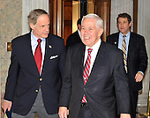 Washington, DC - December 24, 2009 -- United States Senators Tom Carper (Democrat of Delaware), left, and Richard Lugar (Republican of Indiana) arrive to vote on H.R. 3590, regarding health care reform in the U.S. Capitol on Thursday, December 24, 2009.  In a party-line vote, the bill passed 60 - 39..Credit: Ron Sachs / CNP.(RESTRICTION: NO New York or New Jersey Newspapers or newspapers within a 75 mile radius of New York City)