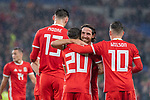 Cardiff - UK - 9th September :<br />Wales v Belarus Friendly match at Cardiff City Stadium.<br /> Daniel James of Wales is congratulated on his first half goal by Captain Joe Allen.<br />Editorial use only