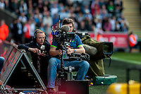TV Camera men during the Barclays Premier League match between Swansea City and Manchester City played at the Liberty Stadium, Swansea on the 15th of May  2016