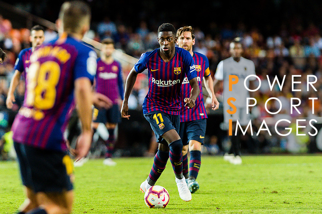 Ousmane Dembele of FC Barcelona (R) in action during their La Liga 2018-19 match between Valencia CF and FC Barcelona at Estadio de Mestalla on October 07 2018 in Valencia, Spain. Photo by Maria Jose Segovia Carmona / Power Sport Images