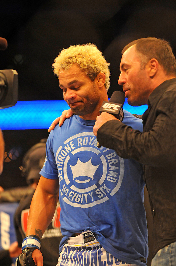 24 SEPTEMBER 2011:  Joe Rogan interviews Josh Koscheck after the fighter's win over Matt Hughes   during UFC 135 at the Pepsi Center in Denver, Colorado. *****For Editorial Use Only*****