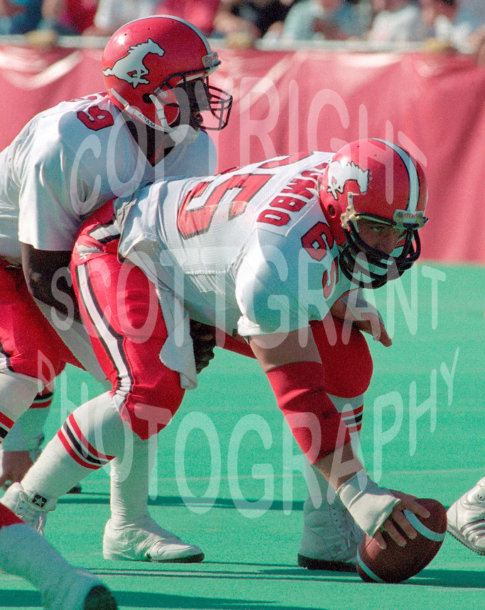 Mike Palumbo and Danny Barrett Calgary Stampeders 1989. Photo Scott Grant
