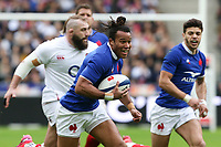2nd February 2020, Stade de France, Paris; France, 6-Nations International rugby union, France versus England;  Teddy Thomas (France) supported by Romain Ntamack (France)