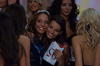 Dora Szabo reacts to winning the joint Beauty Queen contest in Hungary's tv2 television headquarter in Budapest, Hungary on July 14, 2011. ATTILA VOLGYI