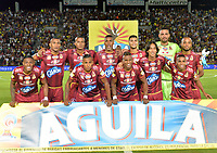 IBAGUÉ - COLOMBIA, 30-05-2018:Formación del Deportes Tolima .Acción de juego entre los equipos   Deportes Tolima  y el Independiente Medellín durante partido semifinal ida de la Liga Águila I 2018 jugado en el estadio Manuel Murillo Toro de la ciudad de Ibagué. / Team of Deportes Tolima.Action game between Deportes Tolima and  Independiente Medellin   during firts match semifinal for the  Aguila League I 2018 played at Manuel Murillo Toro in Ibague city. VizzorImage / Juan Carlos Escobar / Cont