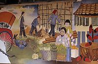 Asie/Singapour/Singapour: Chinatown: Détail d'un mur peint - Scène de la vie des émigrés immigrés chinois de Singapour