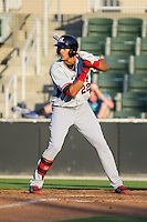 Ronald Guzman (22) of the Hickory Crawdads at bat against the Kannapolis Intimidators at CMC-Northeast Stadium on May 4, 2014 in Kannapolis, North Carolina.  The Intimidators defeated the Crawdads 3-1.  (Brian Westerholt/Four Seam Images)
