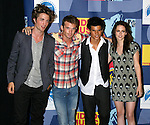 LOS ANGELES, CA. - September 07: Robert Pattinson, Cam Gigandet, Taylor Lautner and Kristen Stewart pose in the press room at the 2008 MTV Video Music Awards at Paramount Pictures Studios on September 7, 2008 in Los Angeles, California.