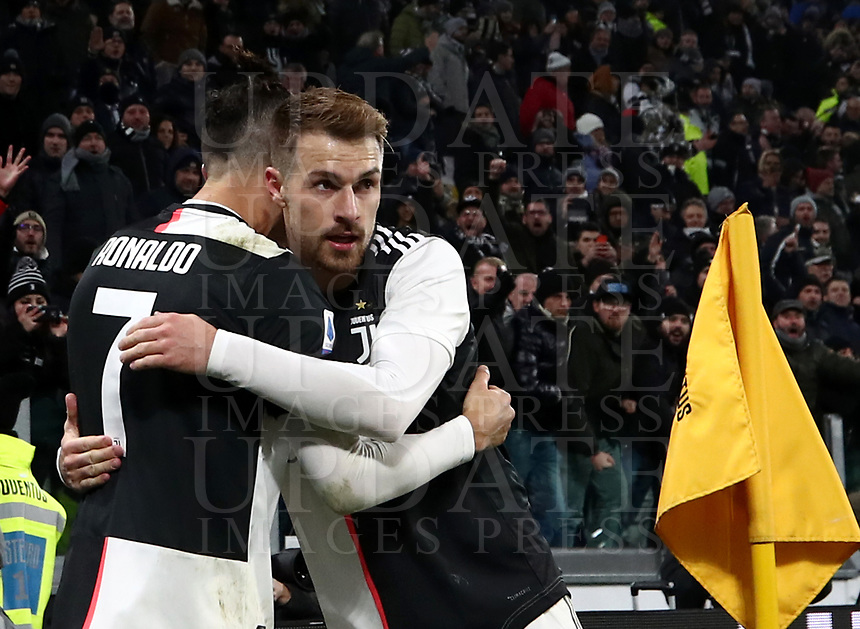 Calcio, Serie A: Juventus - Parma, Turin, Allianz Stadium, January 19, 2020.<br /> Juventus' Cristiano Ronaldo (l) celebrates after scoring his first goal in the match with his teammate Aaron Ramsey (r) during the Italian Serie A football match between Juventus and Parma at the Allianz stadium in Turin, January 19, 2020.<br /> UPDATE IMAGES PRESS/Isabella Bonotto