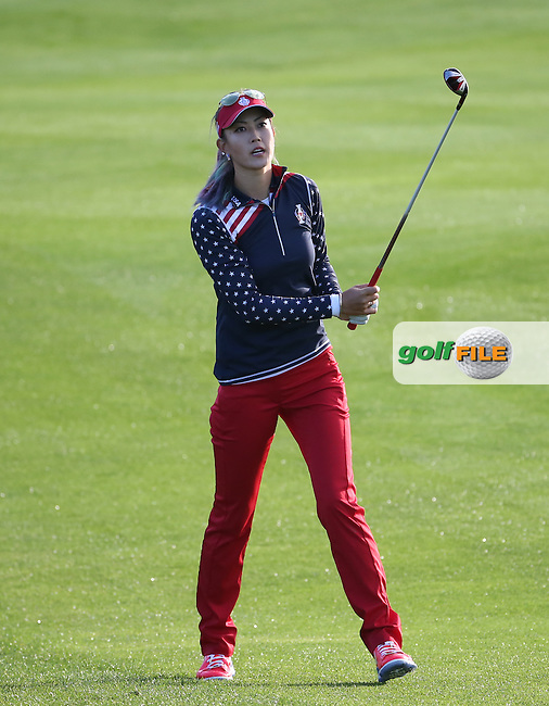 Michelle Wie (USA) during Friday morning's Foursomes, at The Solheim Cup 2015 played at Golf Club St. Leon-Rot, Mannheim, Germany.  18/09/2015. Picture: Golffile | David Lloyd<br /> <br /> All photos usage must carry mandatory copyright credit (&copy; Golffile | David Lloyd)