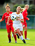 14 October 2010: University of Vermont Catamount midfielder Katie Deppen (26), a Sophomore from Virginia Beach, VA, in action against the University of Hartford Hawks at Centennial Field in Burlington, Vermont. The Hawks defeated the Lady Cats 6-2 in America East play. Mandatory Credit: Ed Wolfstein Photo