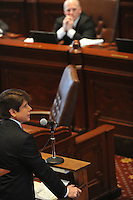 Beleaguered Illinois Governor Rod Blagojevich speaking on the floor of the Illinois State Senate in his own defense at his impeachment trial at the state capitol in Springfield, Illinois on January 29, 2009.