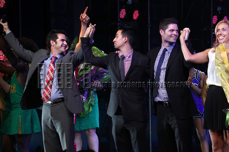 Andy Blankenbueher, Lin-Manuel Miranda, Tom Kitt,  Amanda Green during the Broadway Opening Night Performance Curtain Call for  'Bring it On The Musical' at the St. James Theatre in New York City on 8/1/2012