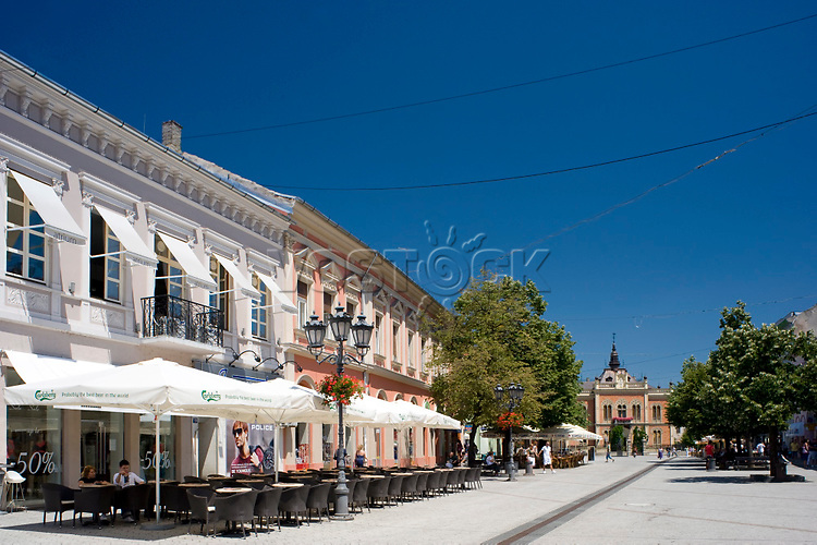Restored buildings and outdoor cafes in the old town section of Novi Sad, Serbia, Europe