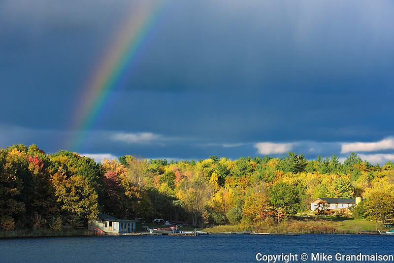 Rainbow and auttumn colors<br /> Near Birch Island<br /> Ontario<br /> Canada