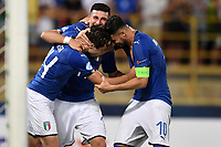 Federico Chiesa , Riccardo Orsolini and Rolando Mandragora of Italy celebrate at the end of the match <br /> Bologna 16-06-2019 Stadio Renato Dall'Ara <br /> Football UEFA Under 21 Championship Italy 2019<br /> Group Stage - Final Tournament Group A<br /> Italy - Spain <br /> Photo Andrea Staccioli / Insidefoto