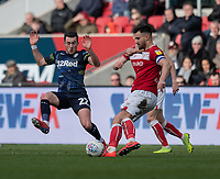 Bristol City's Bailey Wright (right) crosses the ball despite the attentions of Leeds United's Jack Harrison (left) <br /> <br /> Photographer David Horton/CameraSport<br /> <br /> The EFL Sky Bet Championship - Bristol City v Leeds United - Saturday 9th March 2019 - Ashton Gate Stadium - Bristol<br /> <br /> World Copyright © 2019 CameraSport. All rights reserved. 43 Linden Ave. Countesthorpe. Leicester. England. LE8 5PG - Tel: +44 (0) 116 277 4147 - admin@camerasport.com - www.camerasport.com
