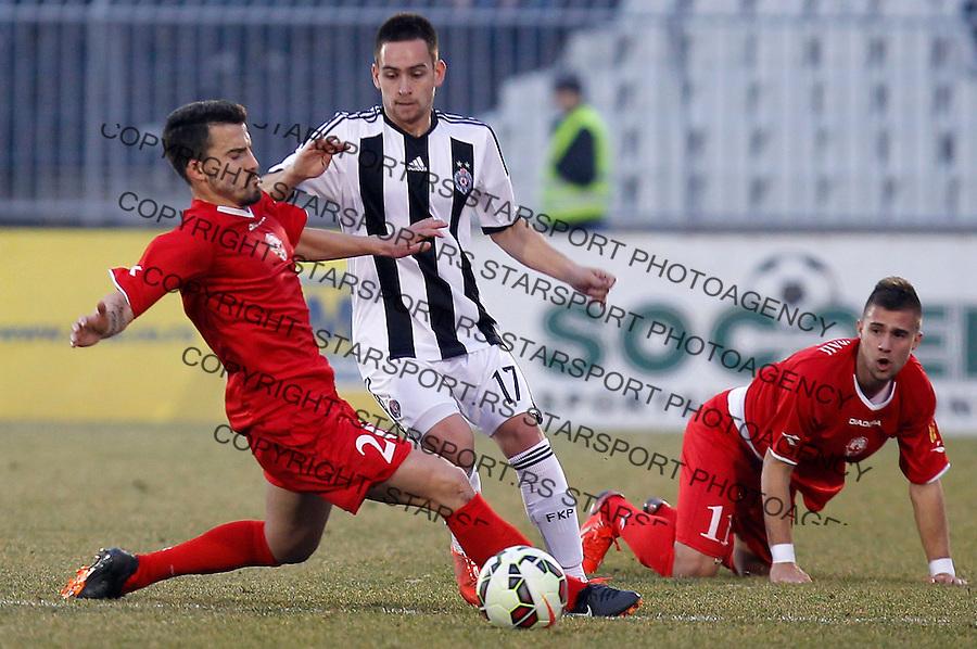 Fudbal Jelen Super League season 2014-2015<br /> Partizan v Vozdvovac<br /> Andrija Zivkovic (C) Nikola Karaklajic (R)<br /> Beograd, 21.02.2015.<br /> foto: Srdjan Stevanovic/Starsportphoto&copy;