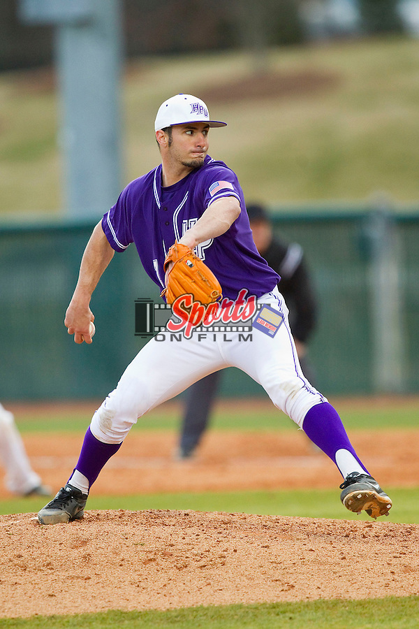 High Point Panthers relief pitcher Michael Heller (7) in action against the Charlotte 49ers at Willard Stadium on February 20, 2013 in High Point, North Carolina.  The 49ers defeated the Panthers 12-3.  (Brian Westerholt/Sports On Film)