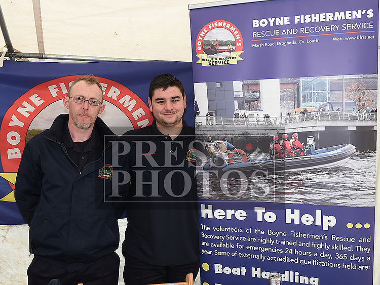 Boyne Fishermens Rescue and Recovery Service members David Tiernan and Robert Smith pictured at the Louth Volunteer Centre fair on West street. Photo:Colin Bell/pressphotos.ie