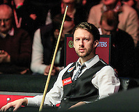 Judd Trump takes to his seat during the Dafabet Masters Quarter Final 2 match between Judd Trump and Neil Robertson at Alexandra Palace, London, England on 15 January 2016. Photo by Liam Smith / PRiME Media Images.