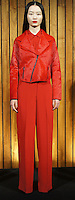 """ODILON FALL 2012<br /> """"30SC1033 RED LONG SLEEVE SHIRT WITH SATIN EMBRIDERED CUFF DETAILS; #OSC8037B RED WIDE LEG CREPE SILK PANTS; #OSC6066 RED PONY HAIR MOTORCYCLE JACKET"""""""