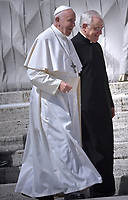 Pope Francis Monsignor  Leonardo Sapienza during of a weekly general audience at St Peter's square in Vatican, Wednesday.May 29, 2019