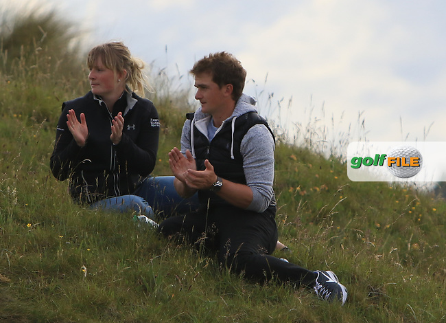 Kate Whyte and Paul Dunne (IRL) watching Alan Lowry (Esker Hills) on the 4th during Round 3 of the East of Ireland Amateur Open Championship at Co. Louth Golf Club in Baltray on Sunday 4th June 2017.<br /> Photo: Golffile / Thos Caffrey.<br /> <br /> All photo usage must carry mandatory copyright credit     (&copy; Golffile | Thos Caffrey)