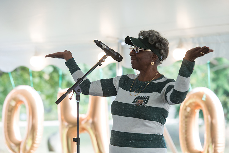 Connie Lawson-Davis speaks during the Black Alumni Reunion during its welcome reception at Tailgreat Park on Thursday, September 15, 2016.