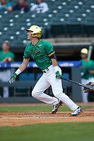 Jake Shepski (0) of the Notre Dame Fighting Irish starts down the first base line against the Florida State Seminoles in Game Four of the 2017 ACC Baseball Championship at Louisville Slugger Field on May 24, 2017 in Louisville, Kentucky. The Seminoles walked-off the Fighting Irish 5-3 in 12 innings. (Brian Westerholt/Four Seam Images)