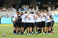 SAN JOSE, CA - AUGUST 24: San Jose Earthquakes huddle prior to a Major League Soccer (MLS) match between the San Jose Earthquakes and the Vancouver Whitecaps FC  on August 24, 2019 at Avaya Stadium in San Jose, California.