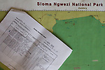 Data sheet and map during SMART training exercise, Sioma, western Zambia