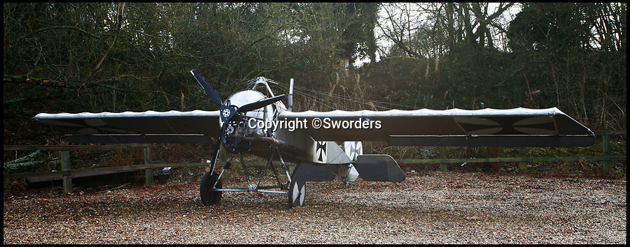 BNPS.co.uk (01202 558833)Pic: Sworders/BNPS<br /> <br /> The silver and black Fokker Eindecker E111.<br /> <br /> A remarkable near life-size model of a German First World War plane which was built by an engineer in his back garden has emerged for sale.<br /> <br /> The silver and black Fokker Eindecker E111 has been fitted with a Reliant Robin engine and can be taxied, although it can not fly.<br /> <br /> Tragically, its creator Ian Brewster was killed in a light aircraft crash in a field in north Hertfordshire last June.<br /> <br /> The 17ft long plane with a 28ft wingspan is now being sold by his family.