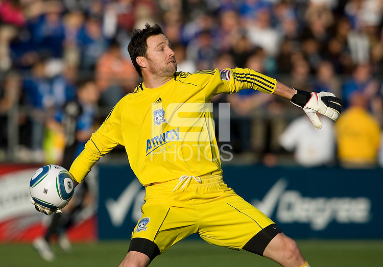 Earthquakes goalkeeper Joe Cannon throws the ball during the game against Real Salt Lake at Buck Shaw Stadium in Santa Clara, California on March 27th, 2010.  Real Salt Lake defeated San Jose Earthquakes, 3-0.