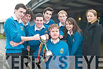TOP MARKS: Mercy Mounthawk students won 1st place in the TV3 All Ireland County Final this week. From l-r: John O'Brien, John O'Donnell, Aidan Murphy, Patrick Fitzgerald, Conor Cleary, Ruth Baker and Gillian O'Carroll with Patrick Flanagan (front).   Copyright Kerry's Eye 2008