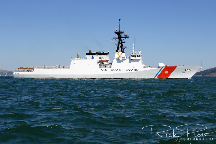 The United States Coast Guard Cutter Bertholf (WMSL 750) leads the Parade of Ships into San Francisco Bay during 2008 San Francisco Fleet Week activities. The Bertholf is homeported in nearby Alameda, California. It was launched on September 29, 2006 at the Ingalls Shipyard in Pascagoula, Mississippi and was christened on November 11, 2006. It is the first of the Legend class maritime security cutters to enter the Coast Guard fleet.