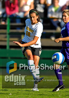 31 August 2007: University of Vermont Catamounts' Gabby Bonfigli, a Freshman from Essex Junction, VT, in action against the University of Central Arkansas Sugar Bears at Historic Centennial Field in Burlington, Vermont. The Catamounts defeated the Sugar Bears 1-0 during the TD Banknorth Soccer Classic...Mandatory Photo Credit: Ed Wolfstein Photo